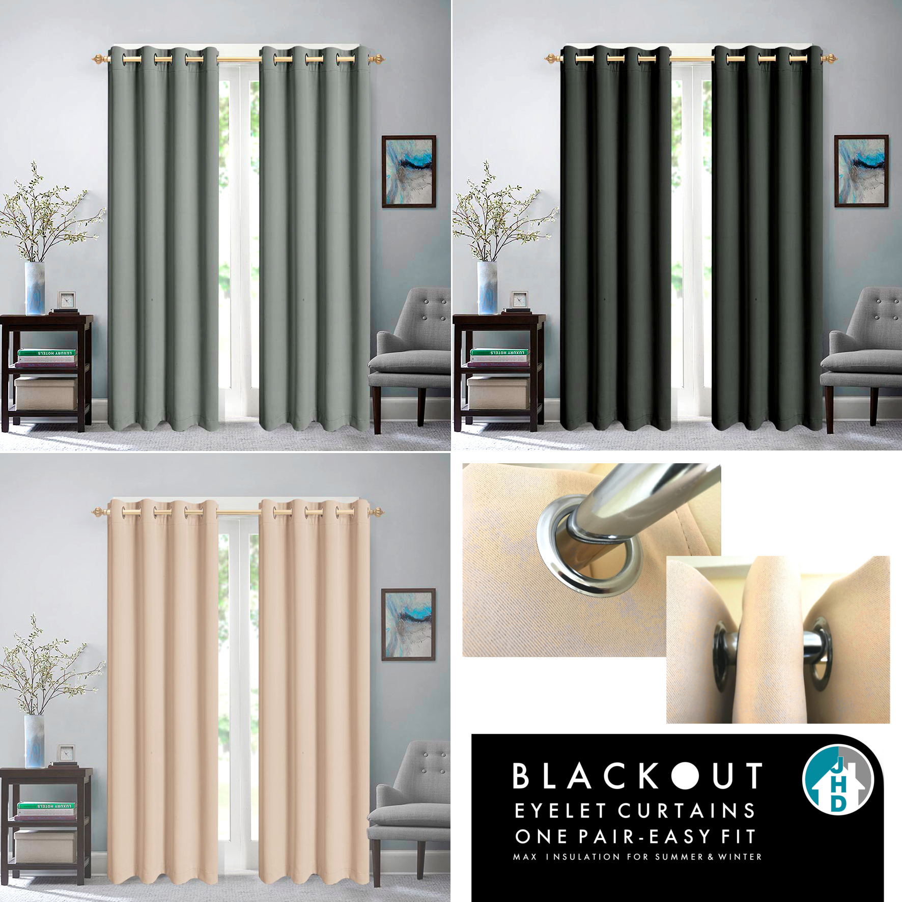 Ready Made Blackout Eyelet Curtains Jupiter Home Decor
